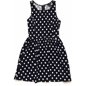 AQUA - Polka Dot Dress - Navy Blue Dress